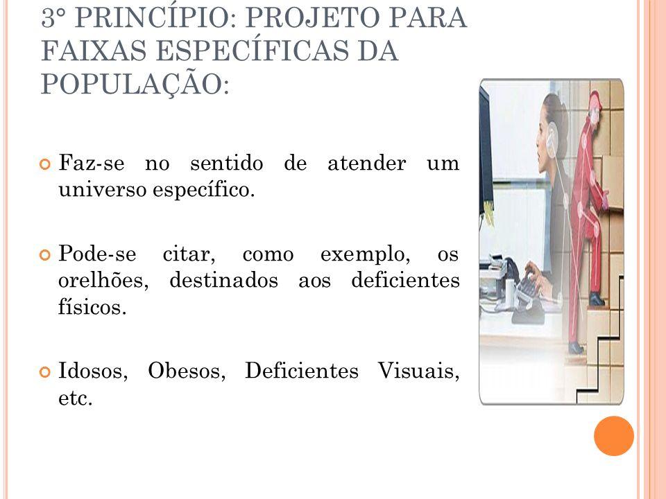 3° PRINCÍPIO: PROJETO PARA FAIXAS ESPECÍFICAS DA POPULAÇÃO: