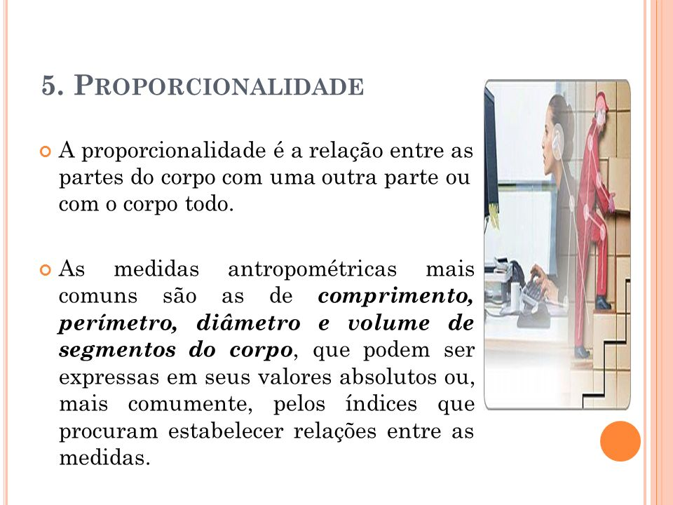 5. Proporcionalidade A proporcionalidade é a relação entre as partes do corpo com uma outra parte ou com o corpo todo.