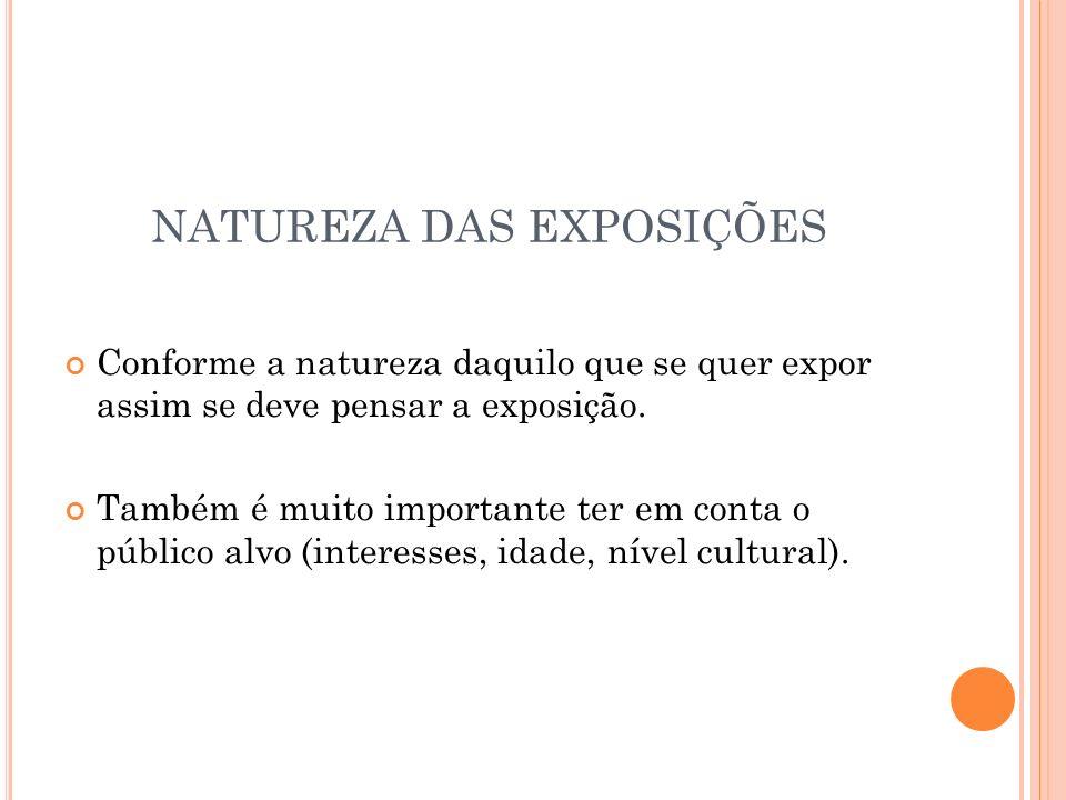 NATUREZA DAS EXPOSIÇÕES