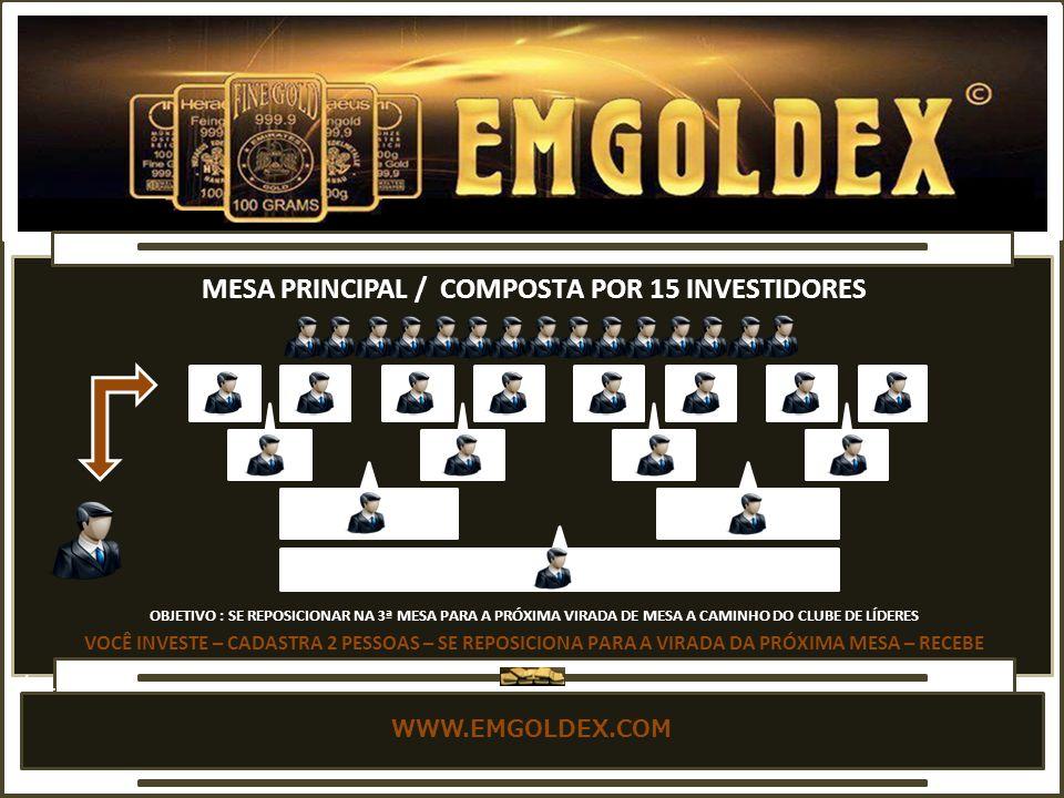 MESA PRINCIPAL / COMPOSTA POR 15 INVESTIDORES