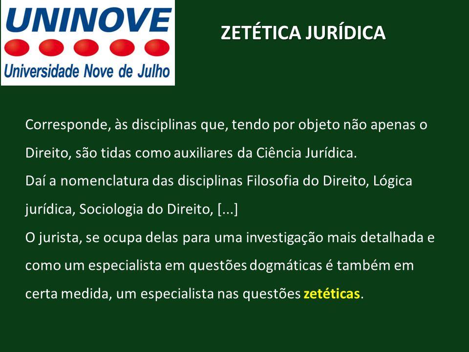 ZETÉTICA JURÍDICA Corresponde, às disciplinas que, tendo por objeto não apenas o Direito, são tidas como auxiliares da Ciência Jurídica.