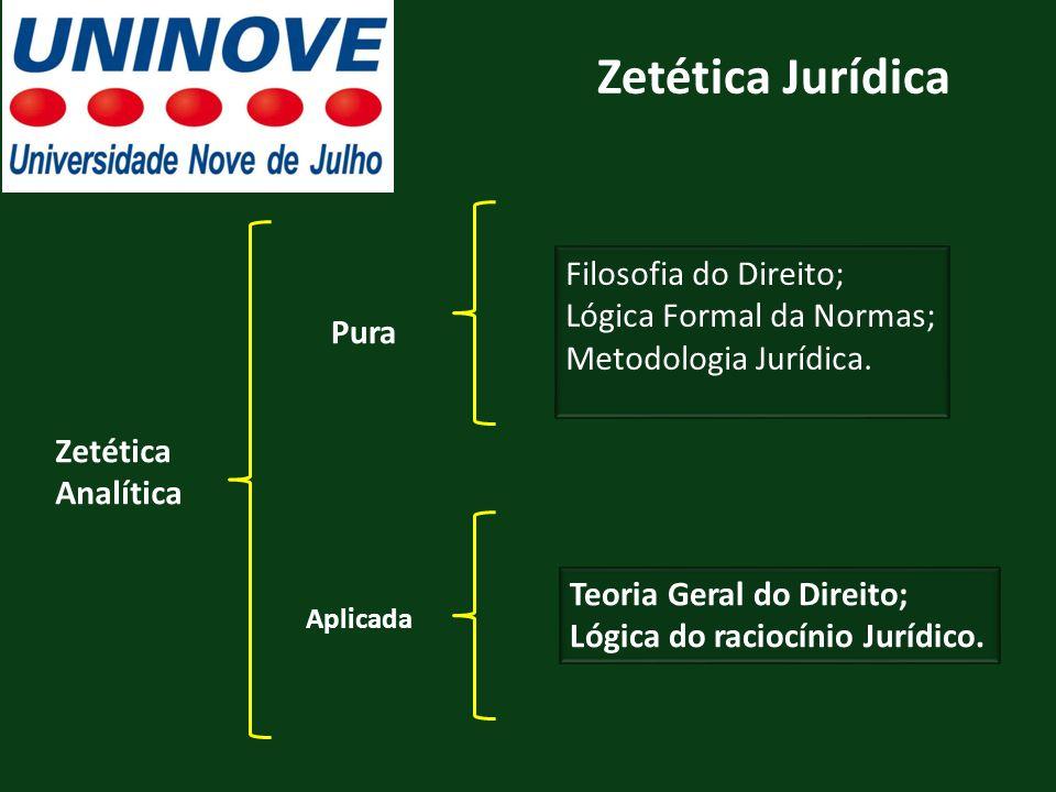 Zetética Jurídica Filosofia do Direito; Lógica Formal da Normas;