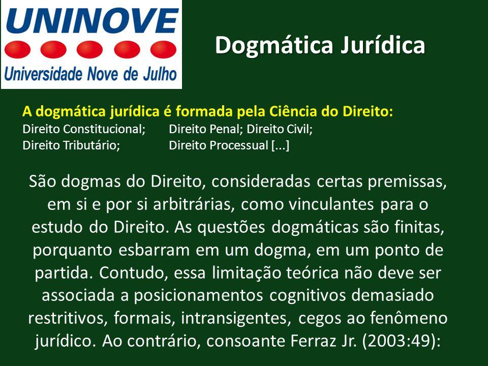Dogmática Jurídica A dogmática jurídica é formada pela Ciência do Direito: Direito Constitucional; Direito Penal; Direito Civil;
