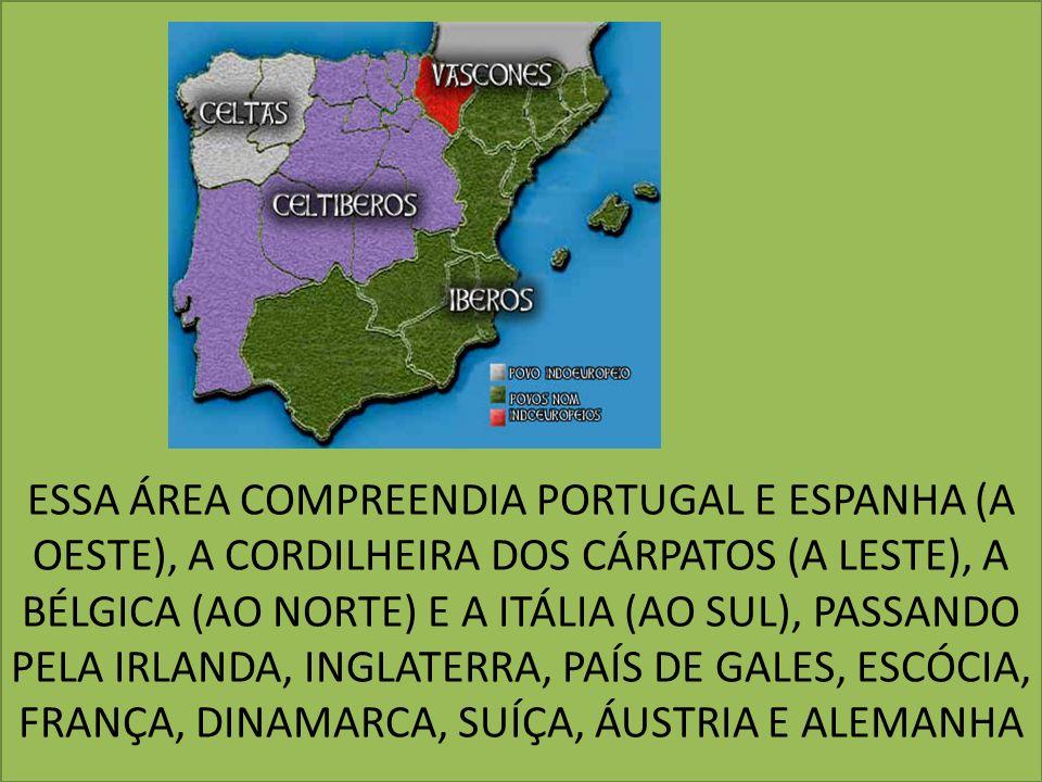 ESSA ÁREA COMPREENDIA PORTUGAL E ESPANHA (A OESTE), A CORDILHEIRA DOS CÁRPATOS (A LESTE), A BÉLGICA (AO NORTE) E A ITÁLIA (AO SUL), PASSANDO PELA IRLANDA, INGLATERRA, PAÍS DE GALES, ESCÓCIA, FRANÇA, DINAMARCA, SUÍÇA, ÁUSTRIA E ALEMANHA
