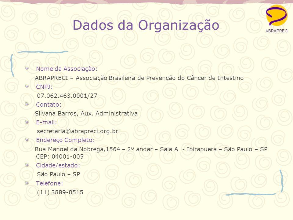Dados da Organização Nome da Associação:
