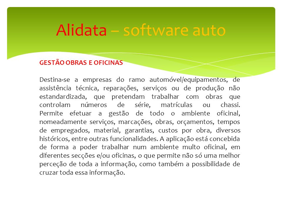 Alidata – software auto