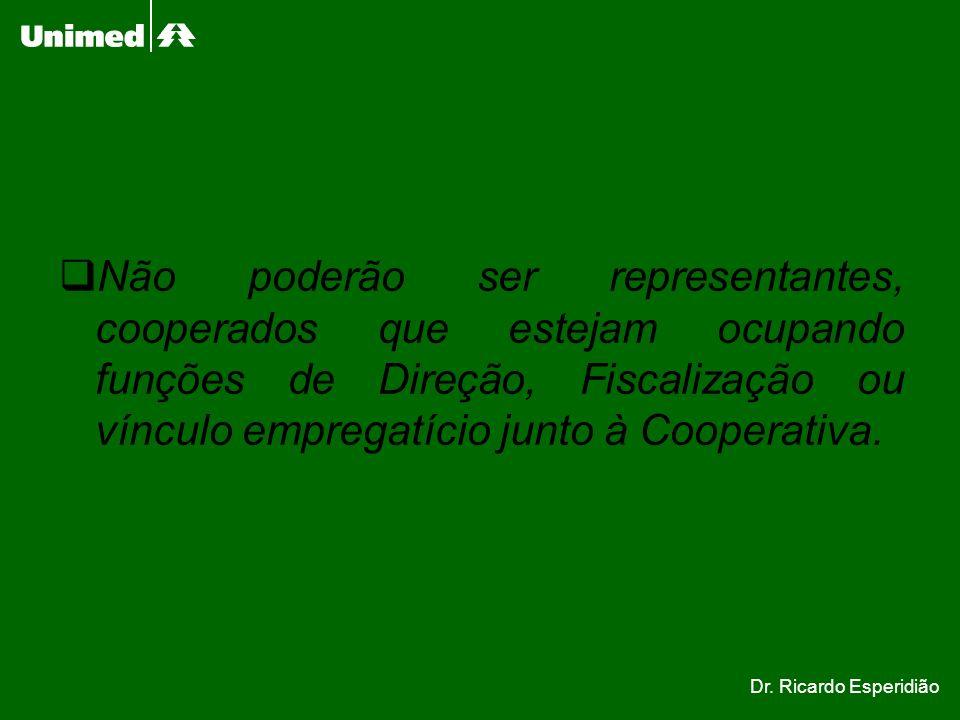 Não poderão ser representantes, cooperados que estejam ocupando funções de Direção, Fiscalização ou vínculo empregatício junto à Cooperativa.