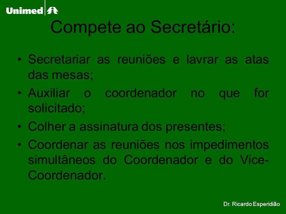 Compete ao Secretário: