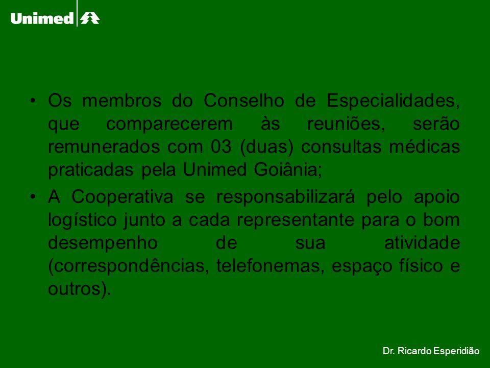 Os membros do Conselho de Especialidades, que comparecerem às reuniões, serão remunerados com 03 (duas) consultas médicas praticadas pela Unimed Goiânia;