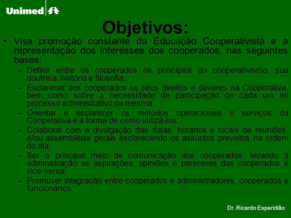 Objetivos: Visa promoção constante da Educação Cooperativista e a representação dos interesses dos cooperados, nas seguintes bases: