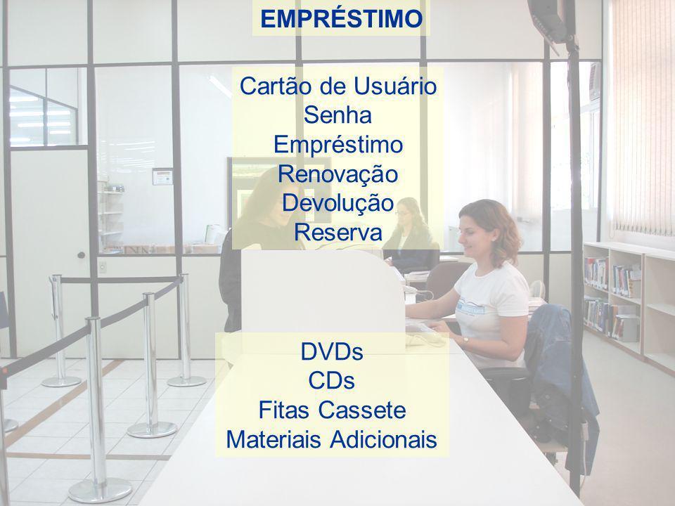 EMPRÉSTIMO Cartão de Usuário. Senha. Empréstimo. Renovação. Devolução. Reserva. DVDs. CDs. Fitas Cassete.