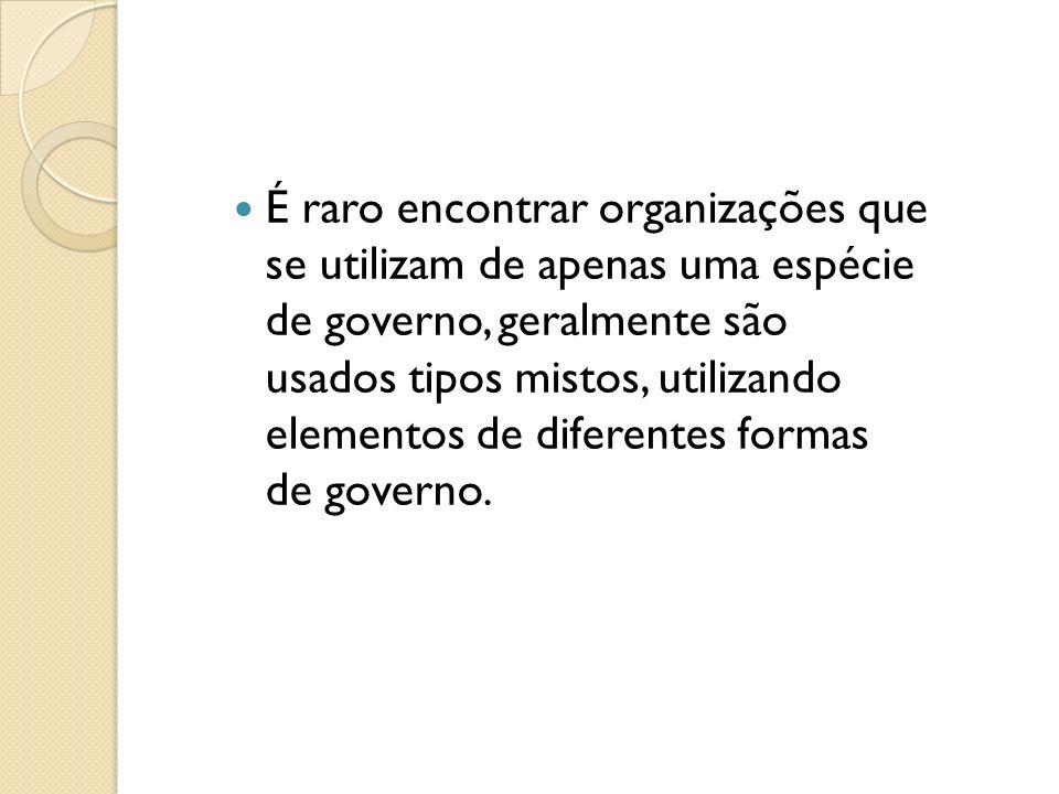 É raro encontrar organizações que se utilizam de apenas uma espécie de governo, geralmente são usados tipos mistos, utilizando elementos de diferentes formas de governo.