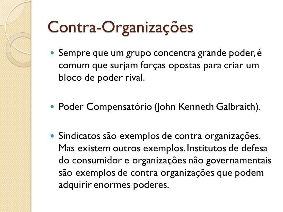 Contra-Organizações Sempre que um grupo concentra grande poder, é comum que surjam forças opostas para criar um bloco de poder rival.