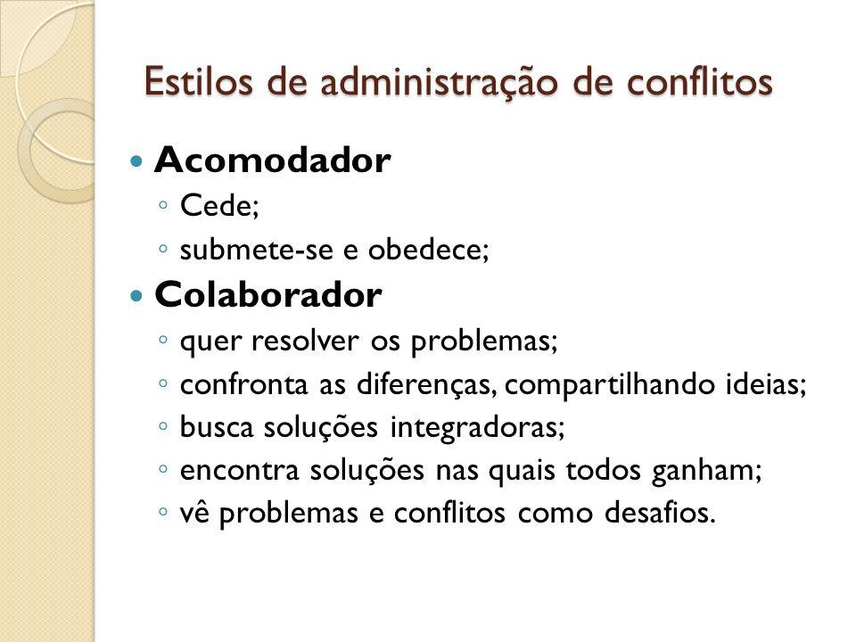 Estilos de administração de conflitos