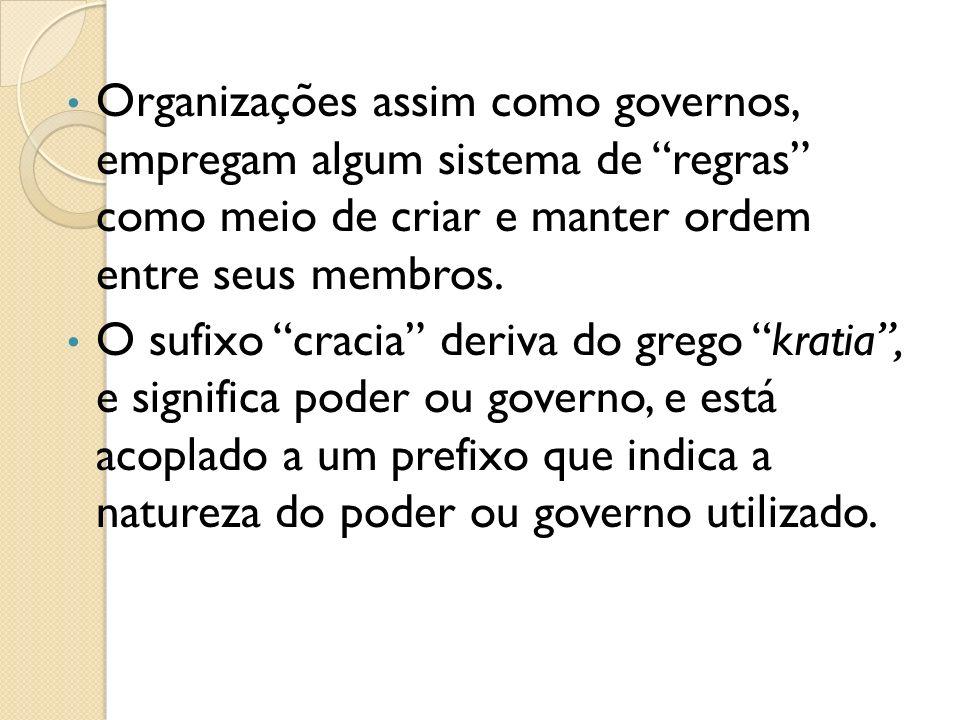 Organizações assim como governos, empregam algum sistema de regras como meio de criar e manter ordem entre seus membros.