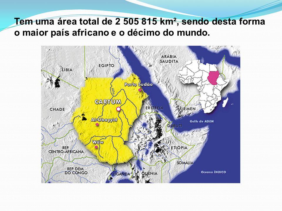Tem uma área total de 2 505 815 km², sendo desta forma o maior país africano e o décimo do mundo.