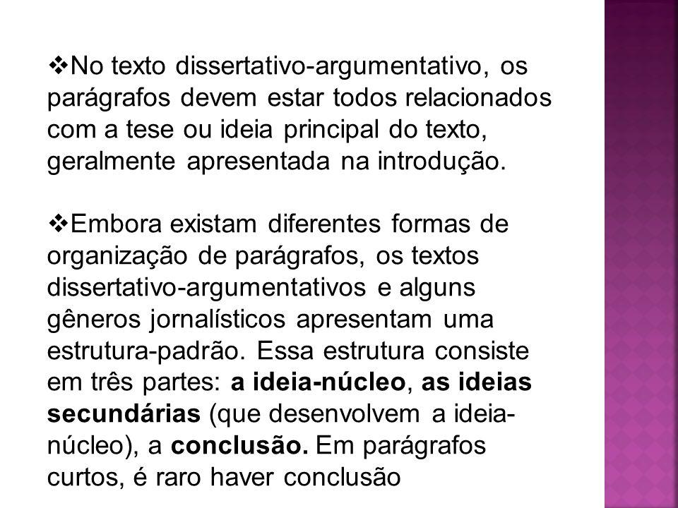 No texto dissertativo-argumentativo, os parágrafos devem estar todos relacionados com a tese ou ideia principal do texto, geralmente apresentada na introdução.