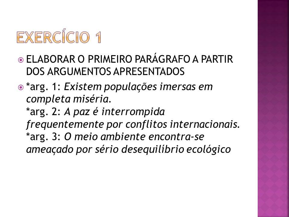 Exercício 1 ELABORAR O PRIMEIRO PARÁGRAFO A PARTIR DOS ARGUMENTOS APRESENTADOS.