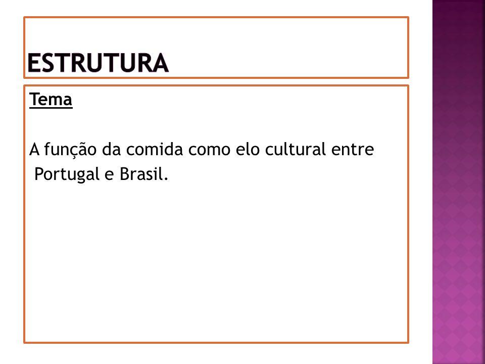 Estrutura Tema A função da comida como elo cultural entre Portugal e Brasil.