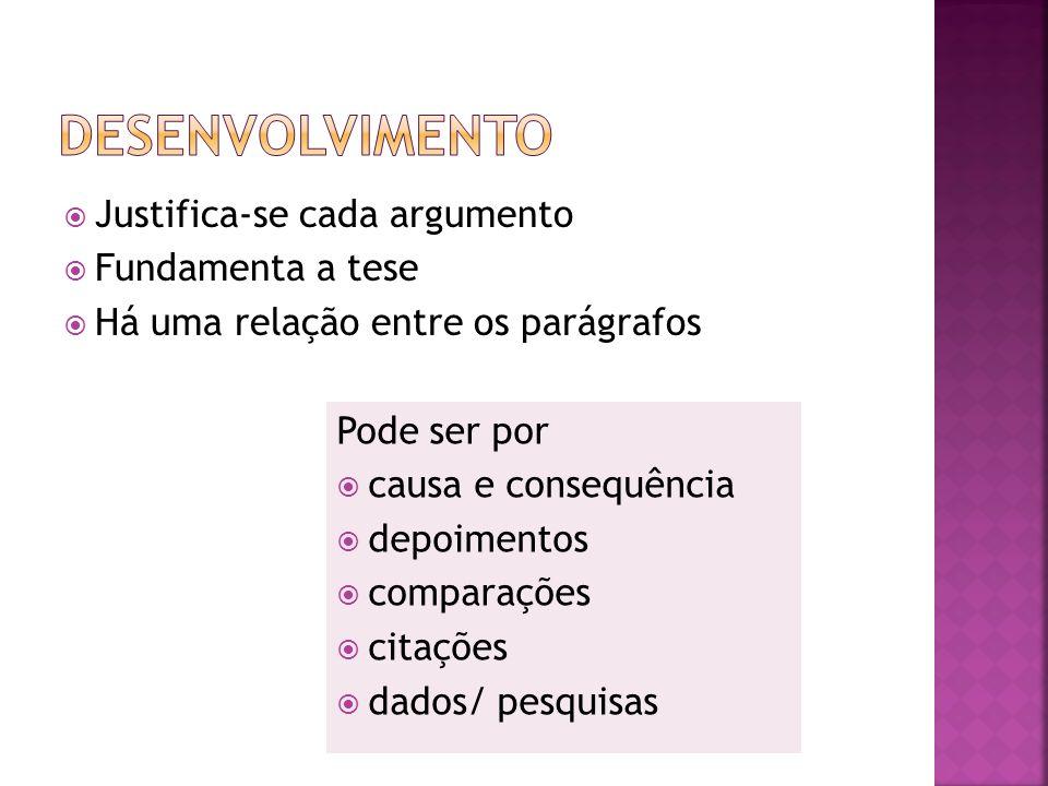 Desenvolvimento Justifica-se cada argumento Fundamenta a tese