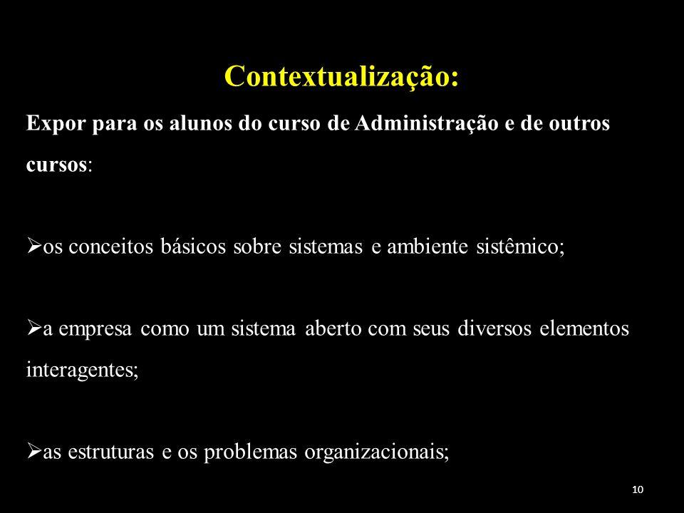 Contextualização: Expor para os alunos do curso de Administração e de outros cursos: os conceitos básicos sobre sistemas e ambiente sistêmico;