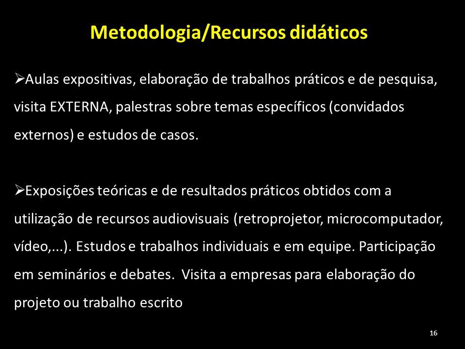 Metodologia/Recursos didáticos
