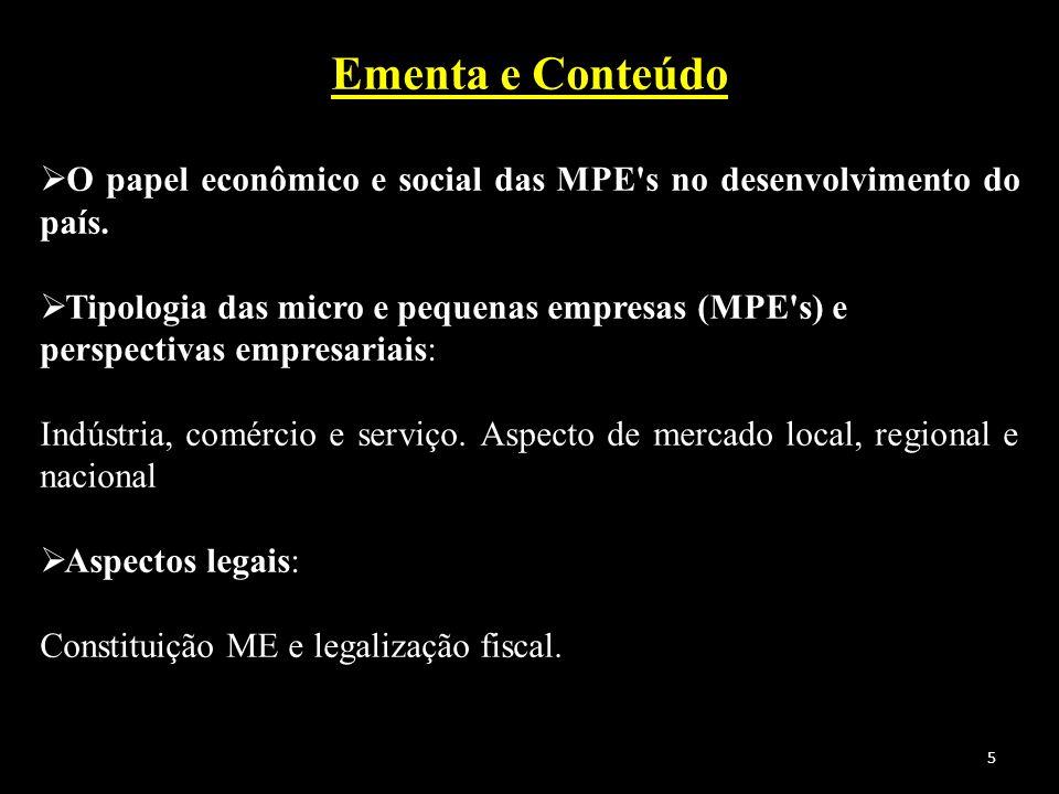 Ementa e Conteúdo O papel econômico e social das MPE s no desenvolvimento do país.