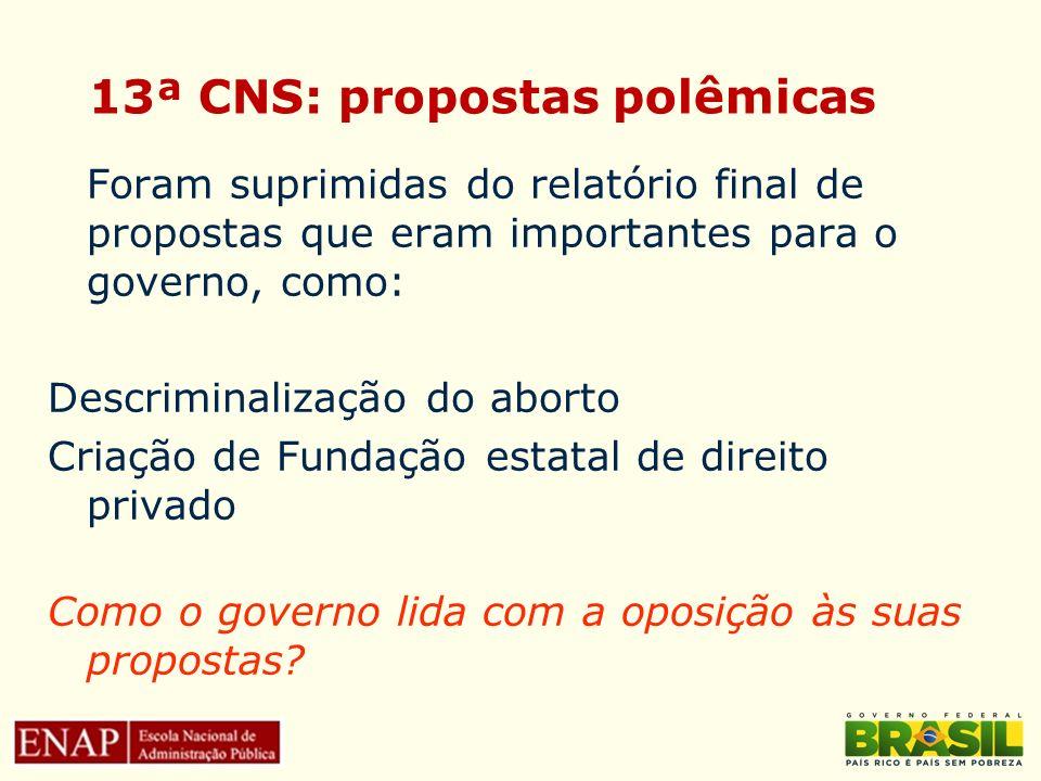13ª CNS: propostas polêmicas
