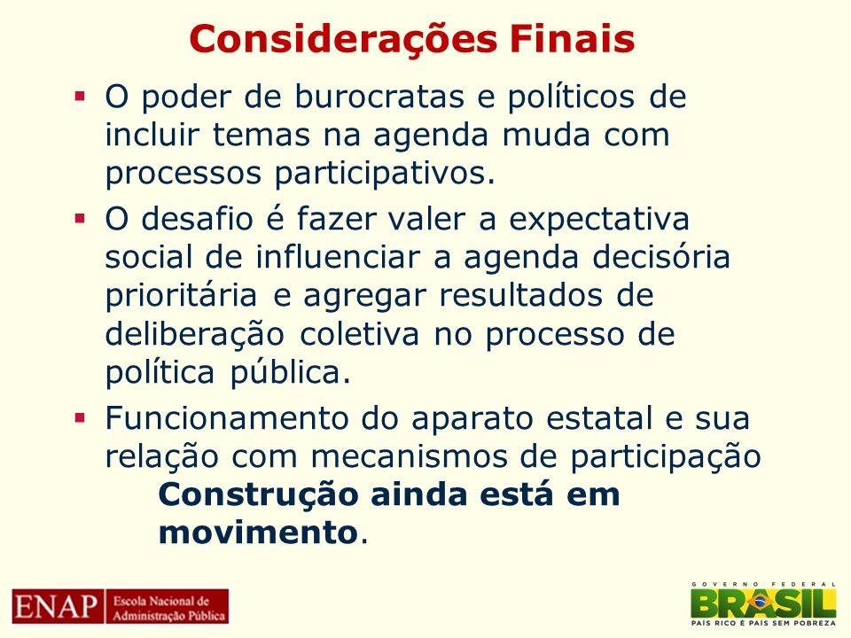 Considerações Finais O poder de burocratas e políticos de incluir temas na agenda muda com processos participativos.