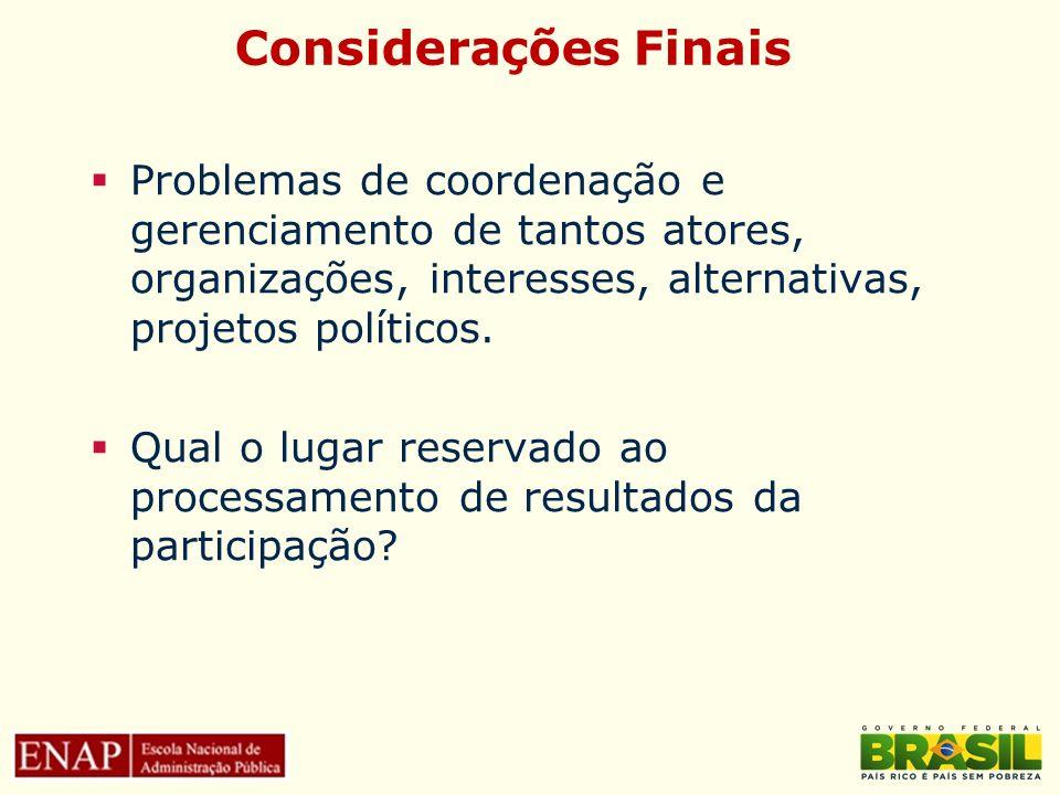 Considerações Finais Problemas de coordenação e gerenciamento de tantos atores, organizações, interesses, alternativas, projetos políticos.