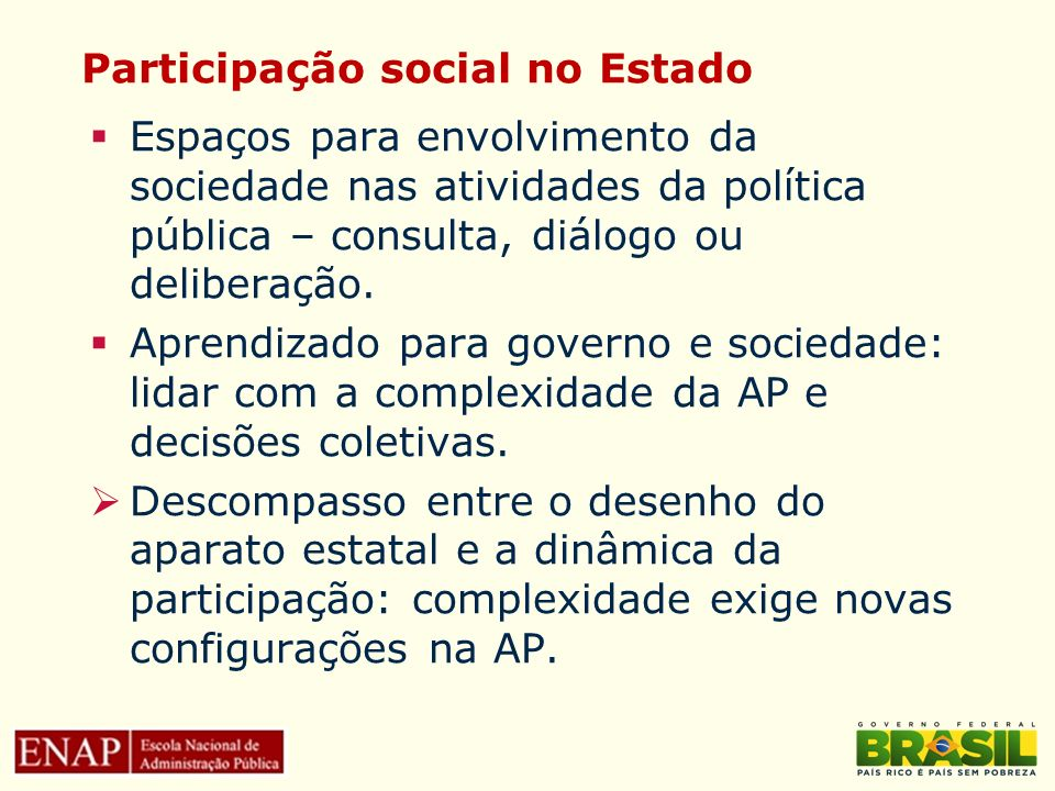Participação social no Estado