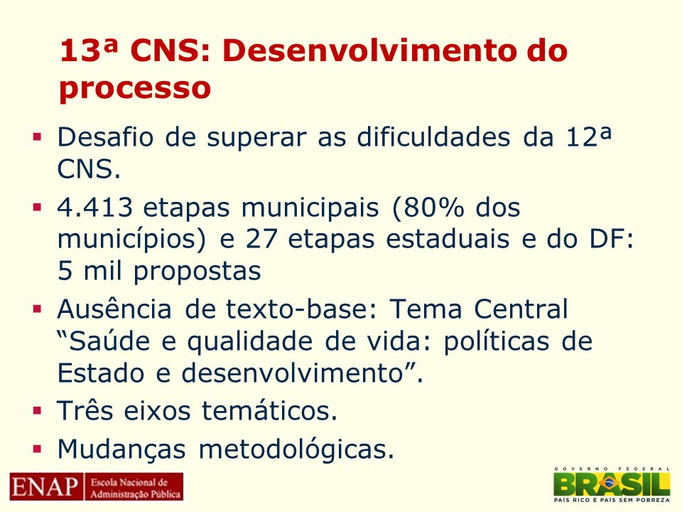13ª CNS: Desenvolvimento do processo