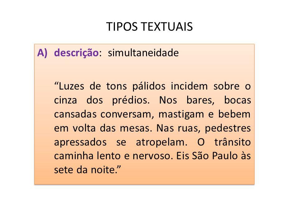 TIPOS TEXTUAIS descrição: simultaneidade