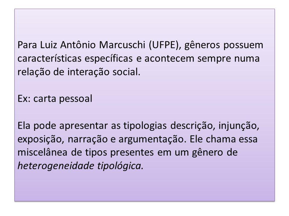 Para Luiz Antônio Marcuschi (UFPE), gêneros possuem características específicas e acontecem sempre numa relação de interação social.
