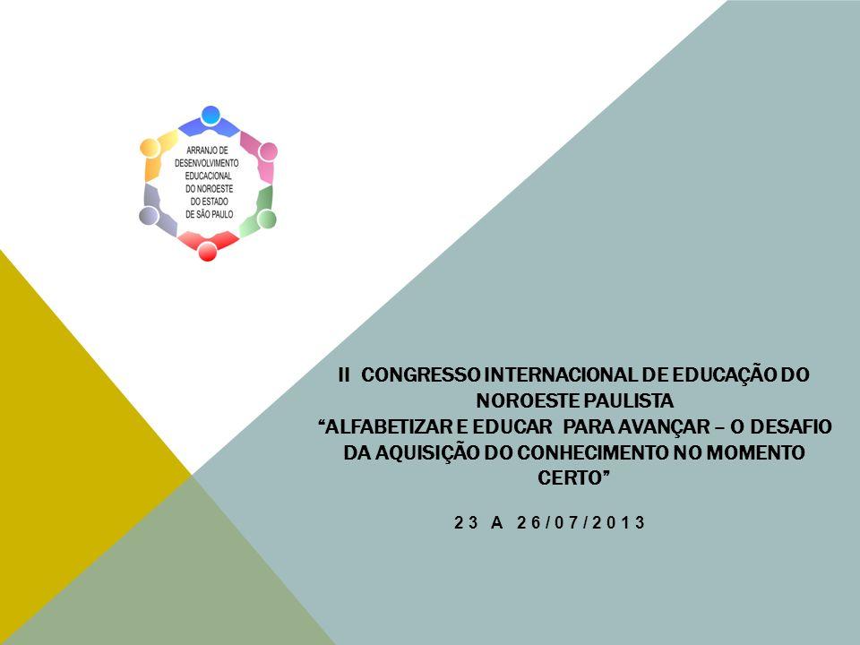 II CONGRESSO INTERNACIONAL DE EDUCAÇÃO DO NOROESTE PAULISTA Alfabetizar e Educar para Avançar – O Desafio da Aquisição do Conhecimento no Momento Certo