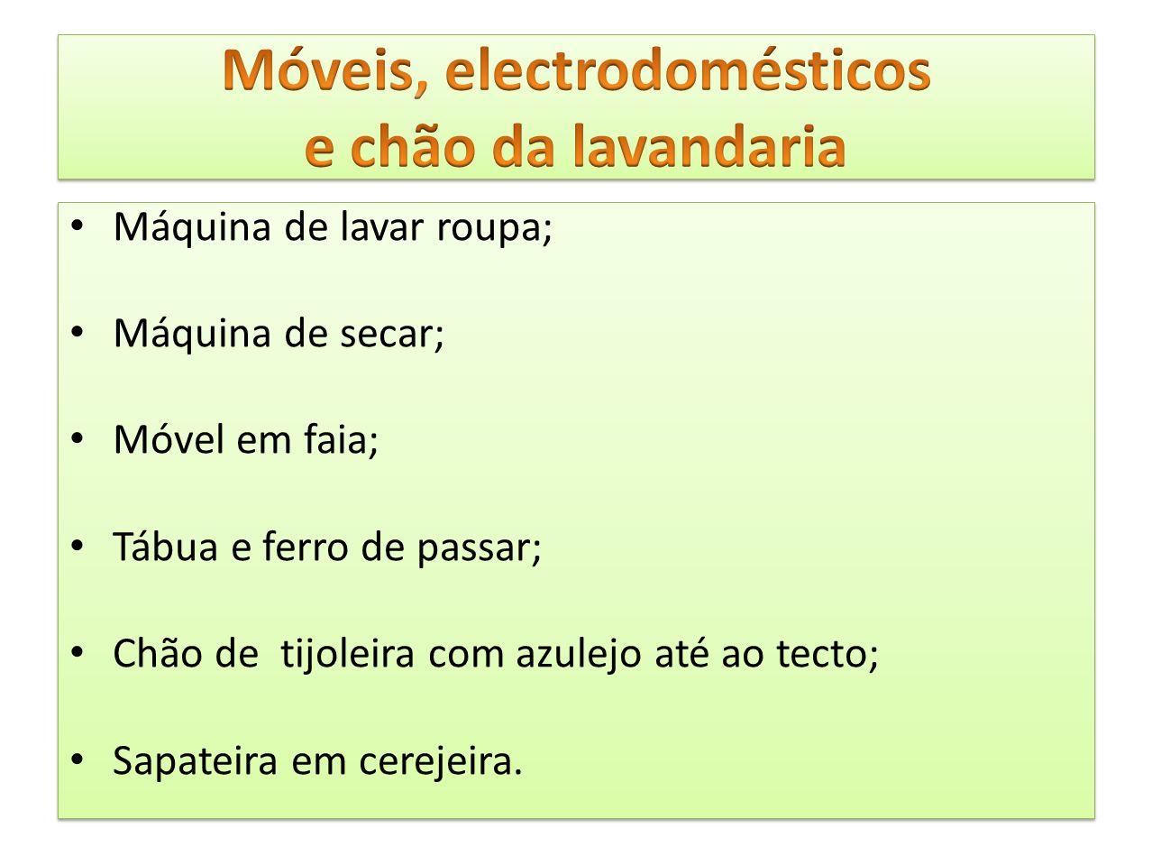 Móveis, electrodomésticos e chão da lavandaria