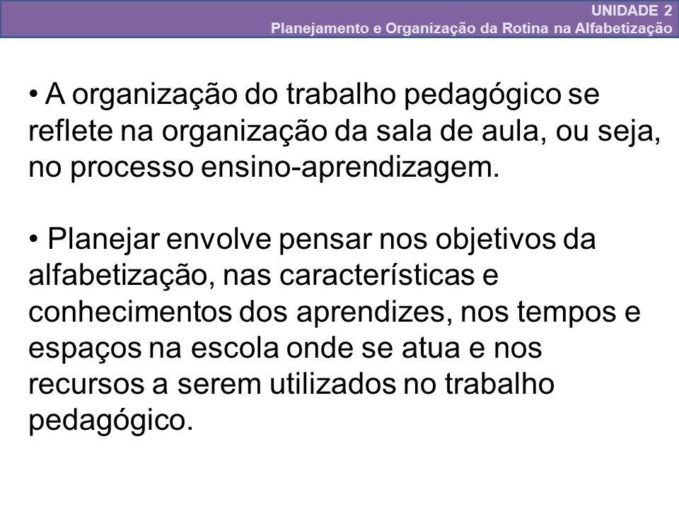 UNIDADE 2 Planejamento e Organização da Rotina na Alfabetização
