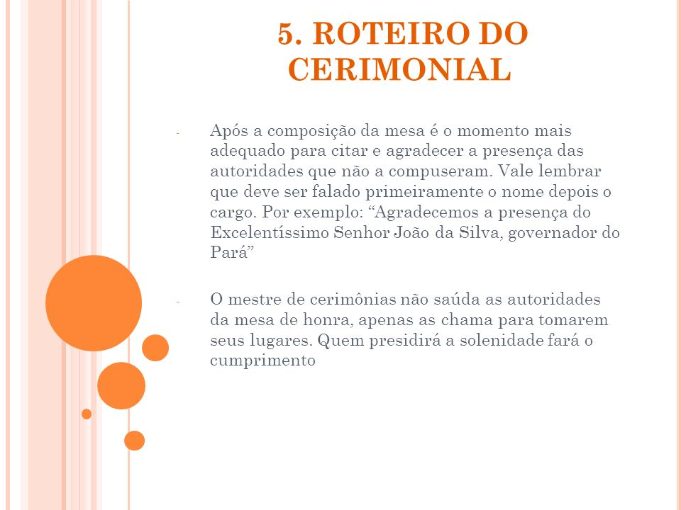 5. ROTEIRO DO CERIMONIAL