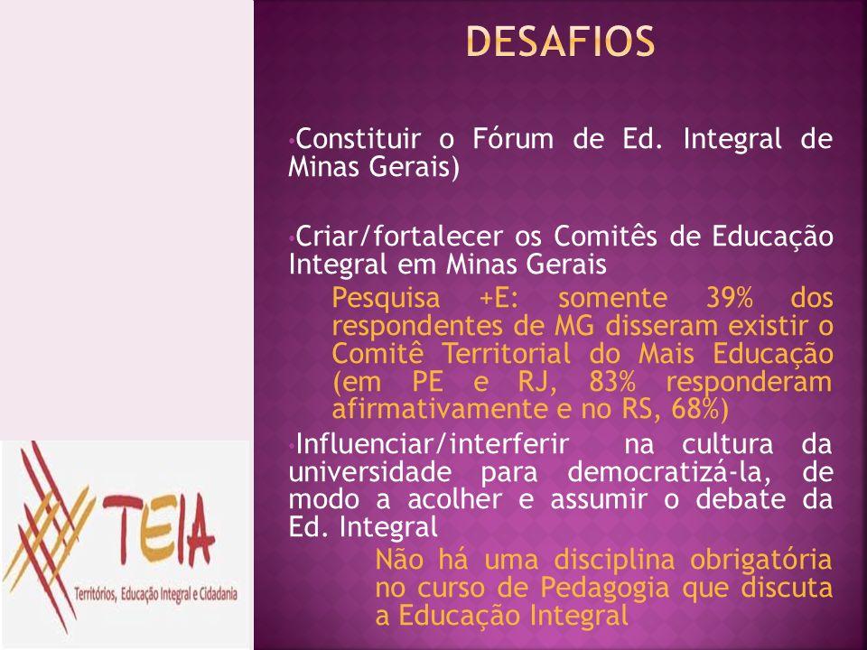 DESAFIOS Constituir o Fórum de Ed. Integral de Minas Gerais)