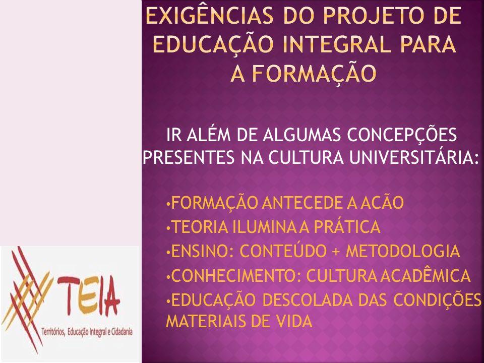 EXIGÊNCIAS DO PROJETO DE EDUCAÇÃO INTEGRAL PARA A FORMAÇÃO