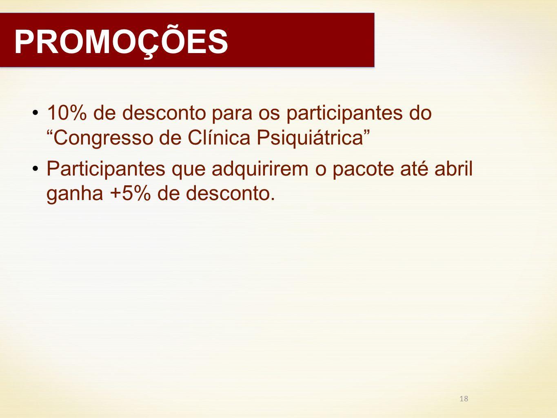 PROMOÇÕES 10% de desconto para os participantes do Congresso de Clínica Psiquiátrica