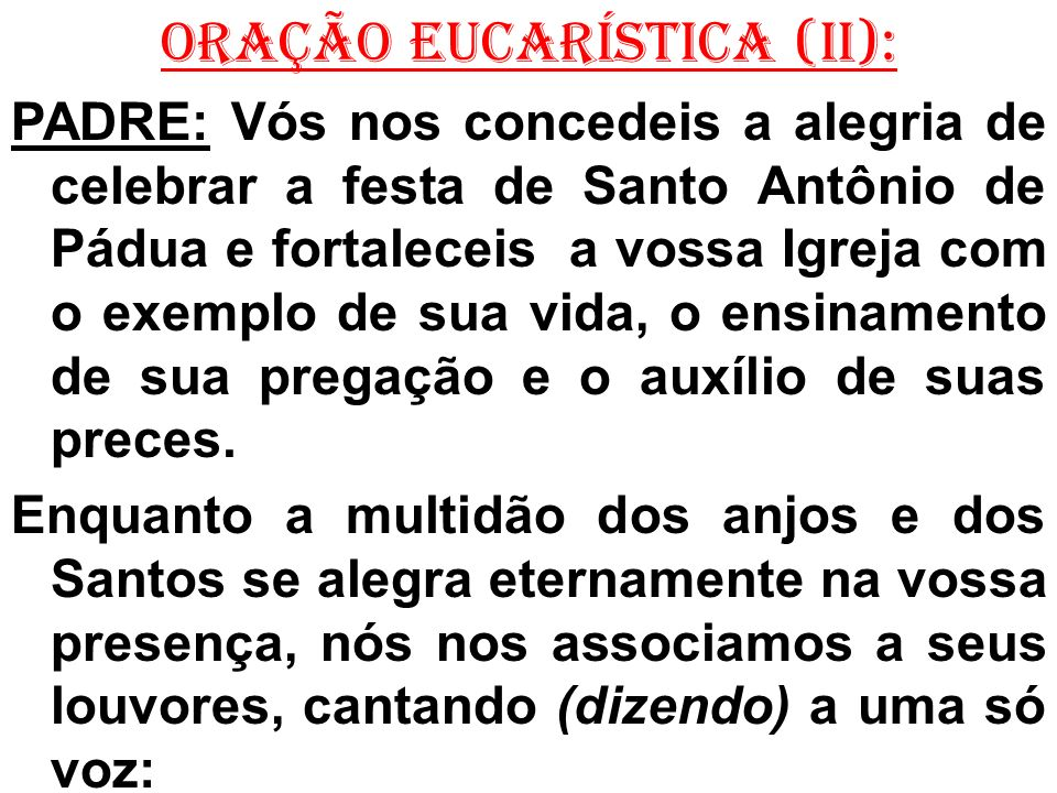 ORAÇÃO EUCARÍSTICA (II):