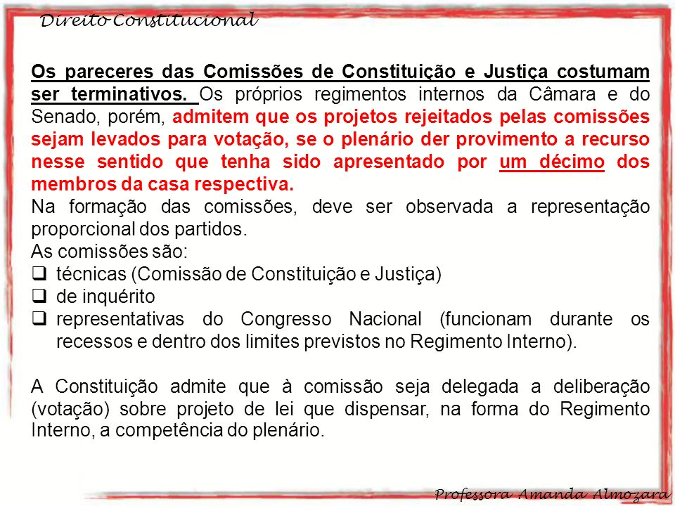 técnicas (Comissão de Constituição e Justiça) de inquérito