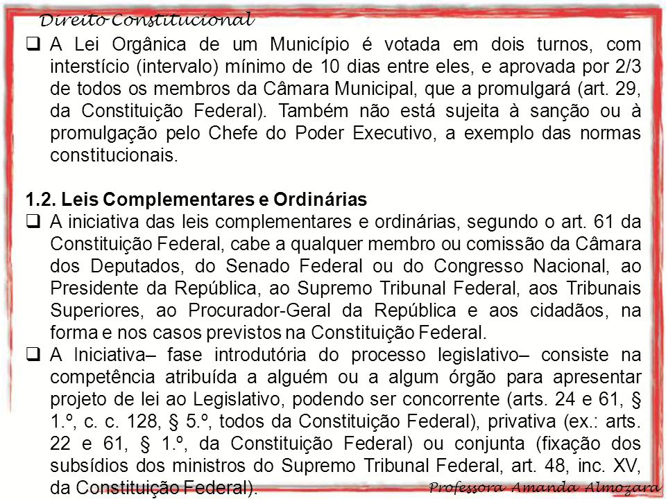 1.2. Leis Complementares e Ordinárias