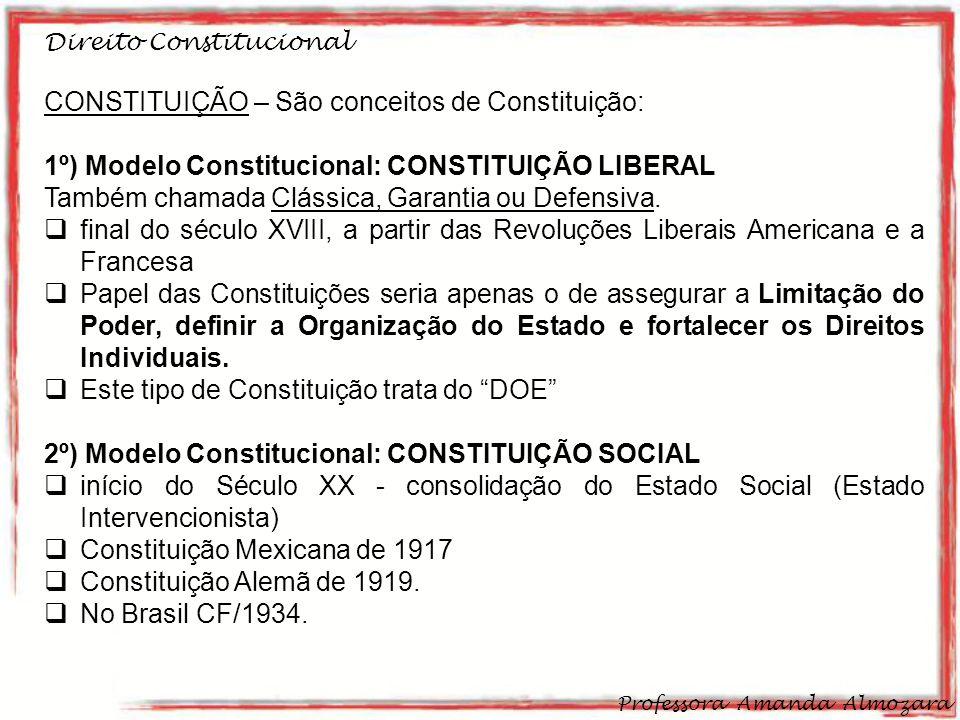 CONSTITUIÇÃO – São conceitos de Constituição:
