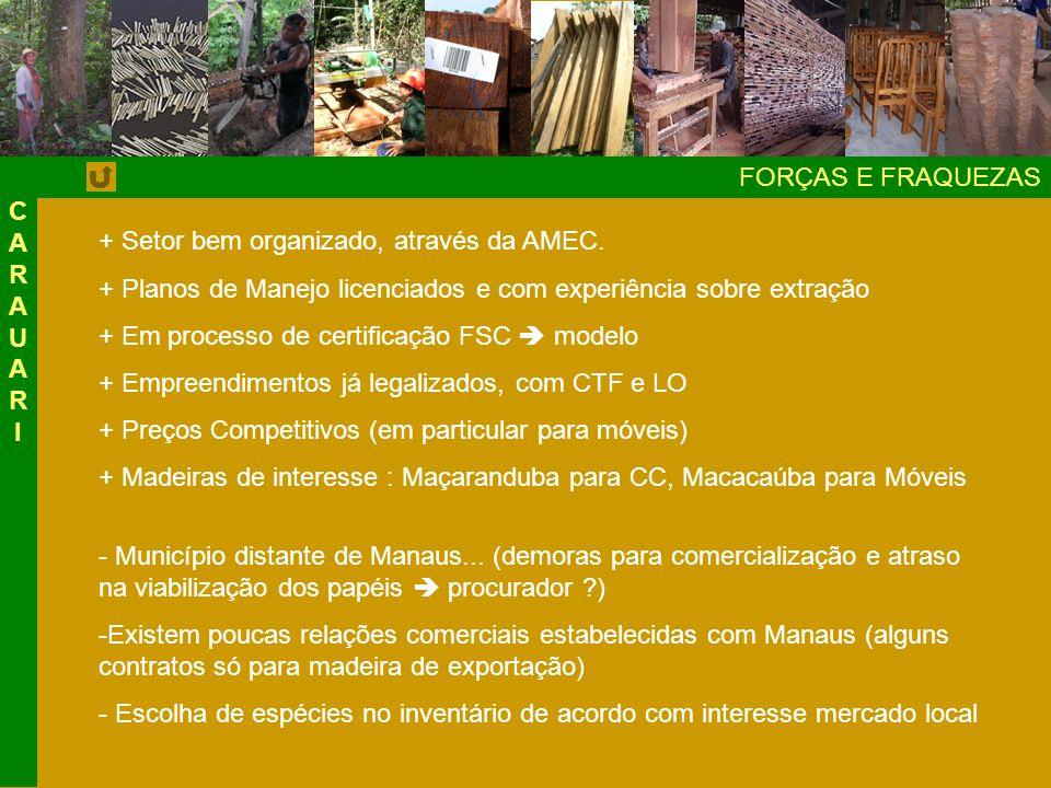 CARAUAR I FORÇAS E FRAQUEZAS. + Setor bem organizado, através da AMEC. + Planos de Manejo licenciados e com experiência sobre extração.
