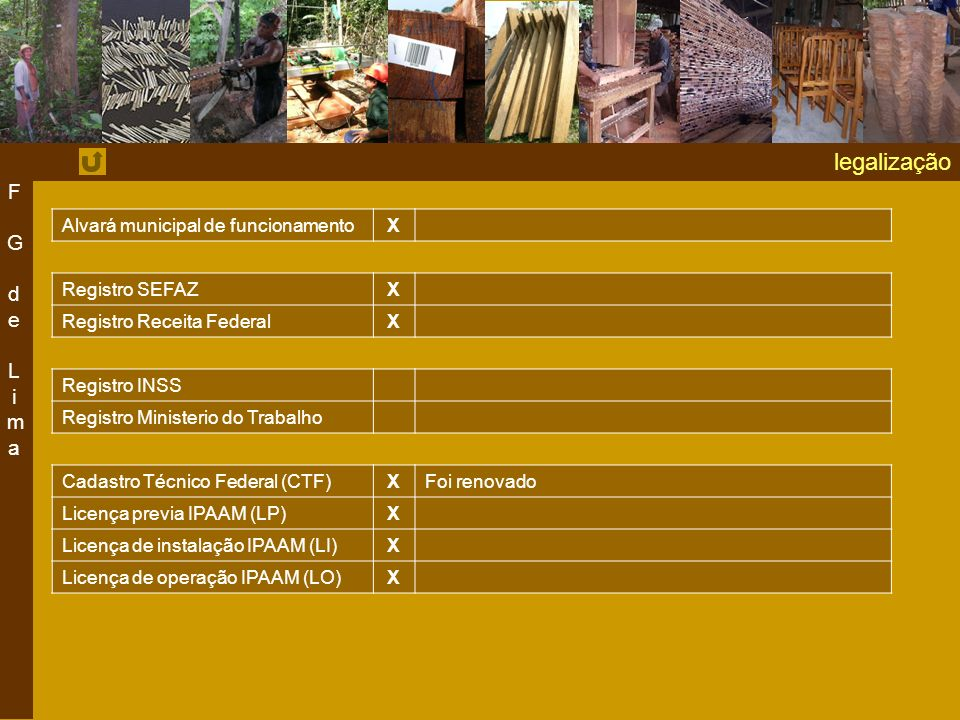 legalização F G de Lima Alvará municipal de funcionamento X