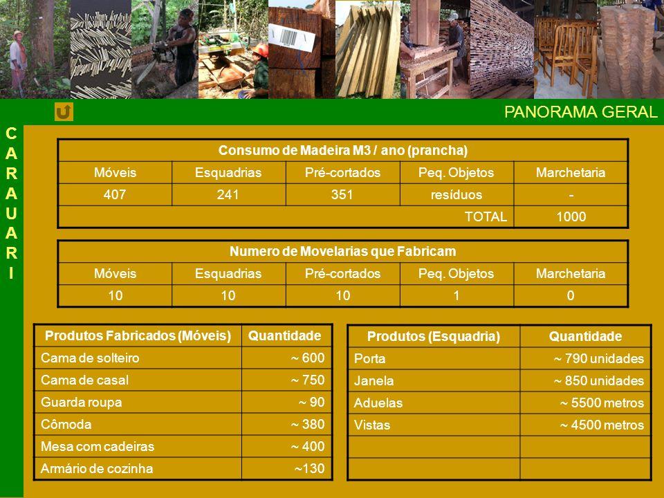 PANORAMA GERAL CARAUAR I Consumo de Madeira M3 / ano (prancha) Móveis