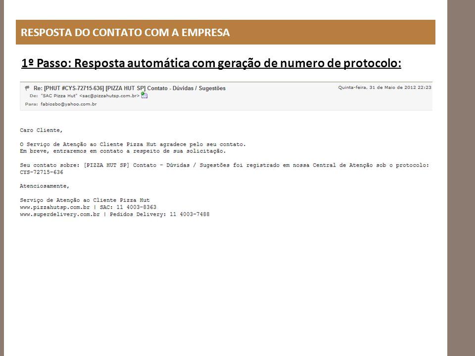 1º Passo: Resposta automática com geração de numero de protocolo: