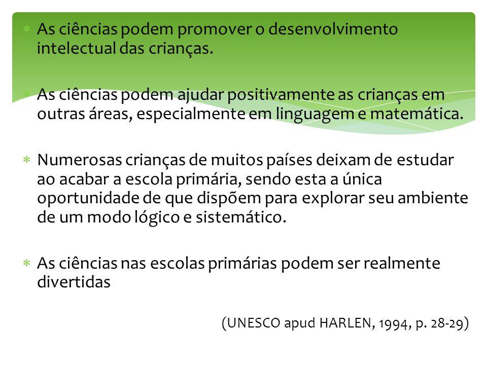 As ciências podem promover o desenvolvimento intelectual das crianças.